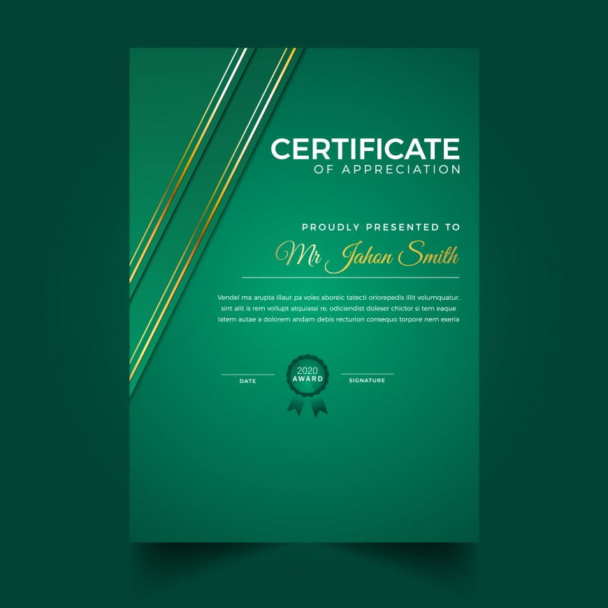 Modern Green Vertical Diploma Template