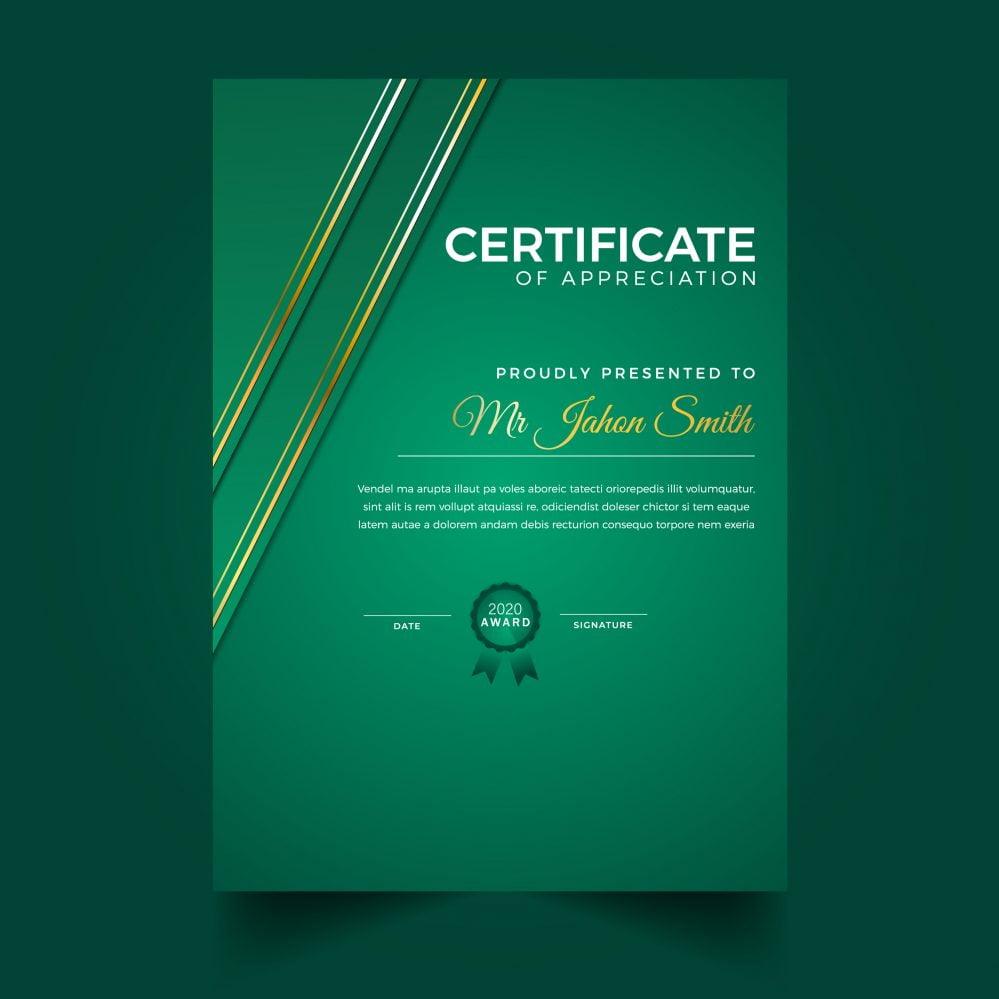 Modern Green Vertical Diploma Template
