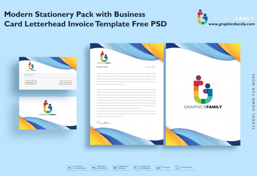 Modern Stationery Pack with Business Card Letterhead Invoice Template Free Psd 2