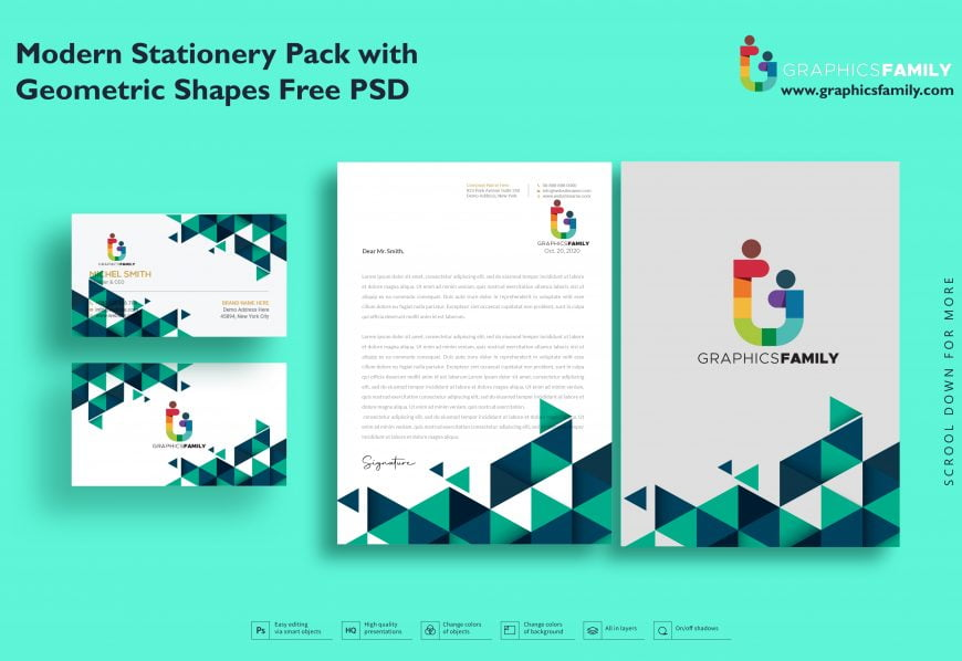 Modern Stationery Pack with Geometric Shapes Free Psd