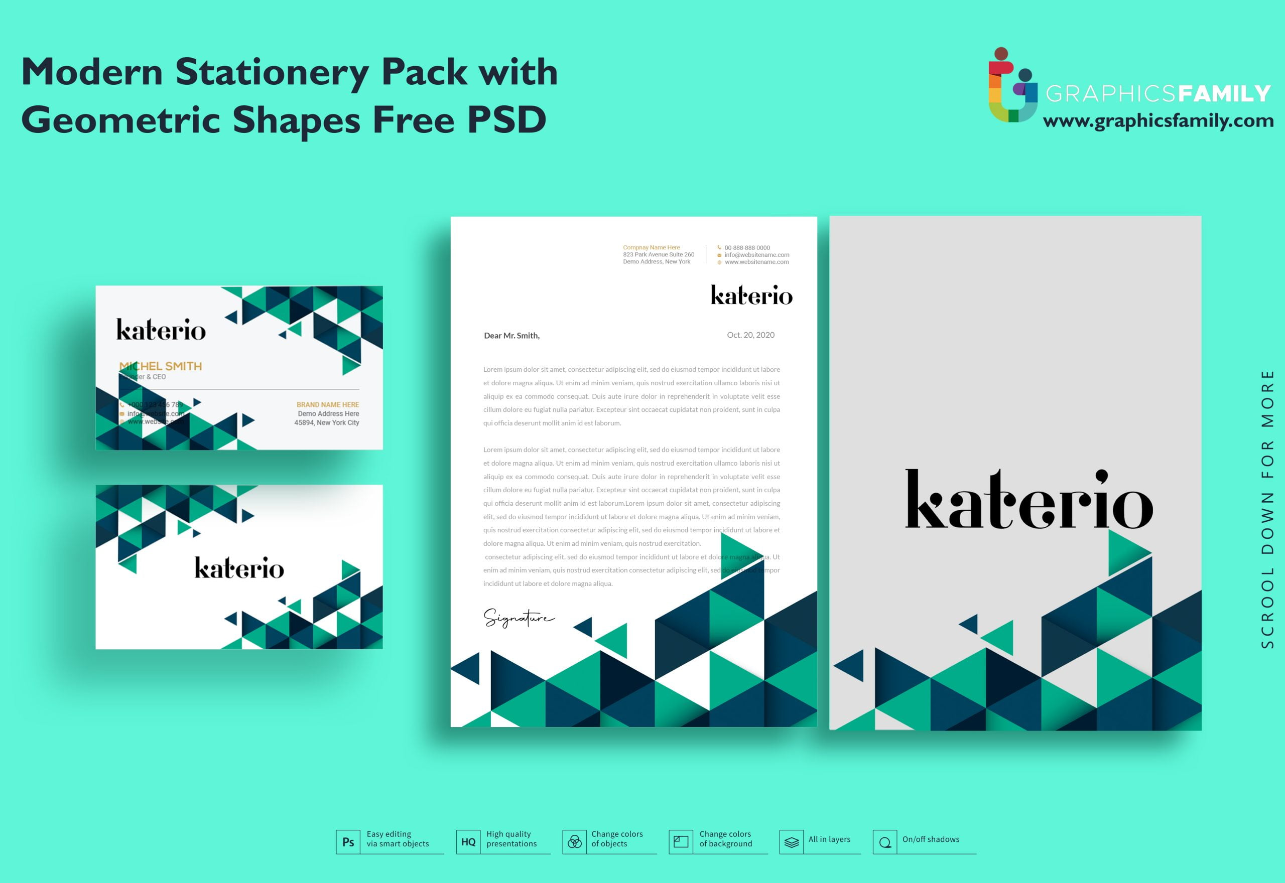 Modern Stationery Pack with Geometric Shapes Free Psd Download