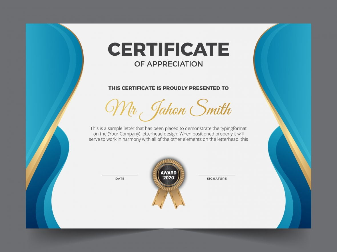 Modern certificate award template design vector illustration