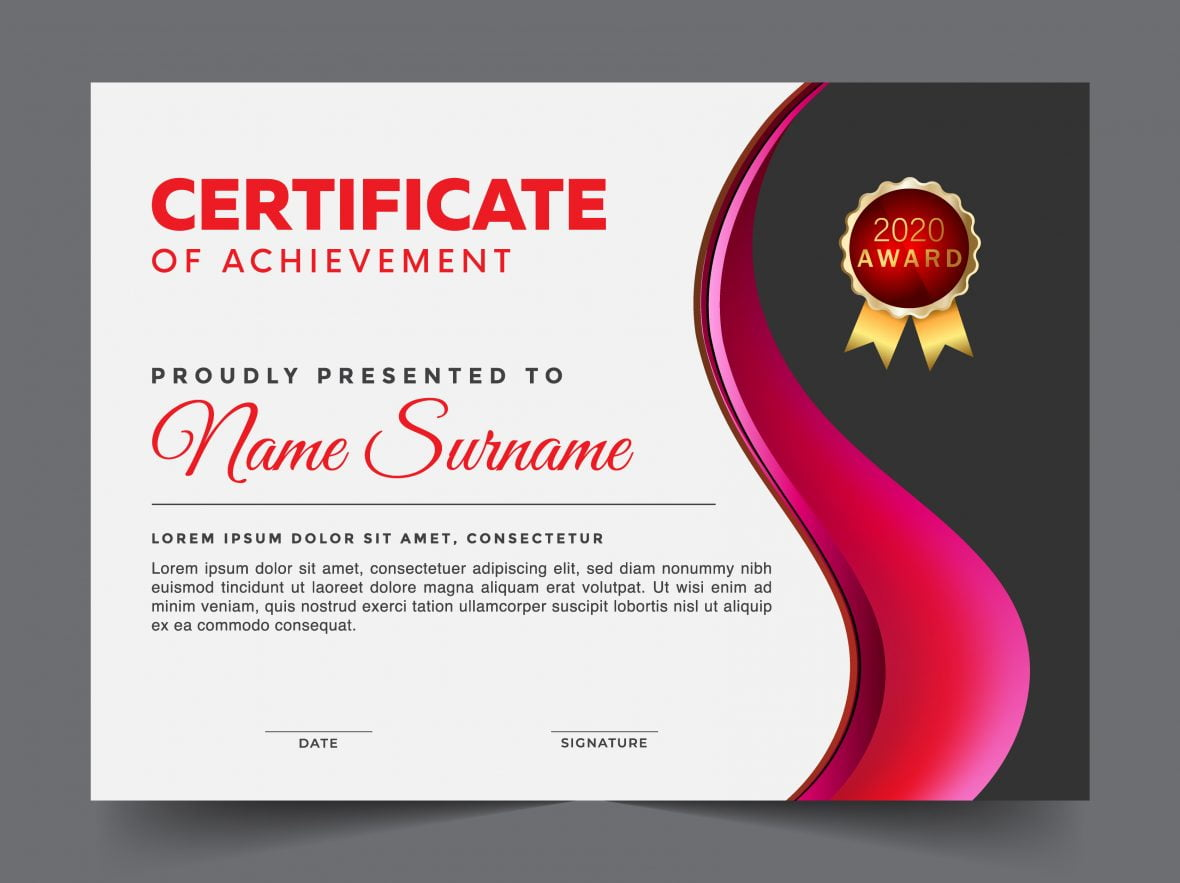 Modern certificate template with flat design