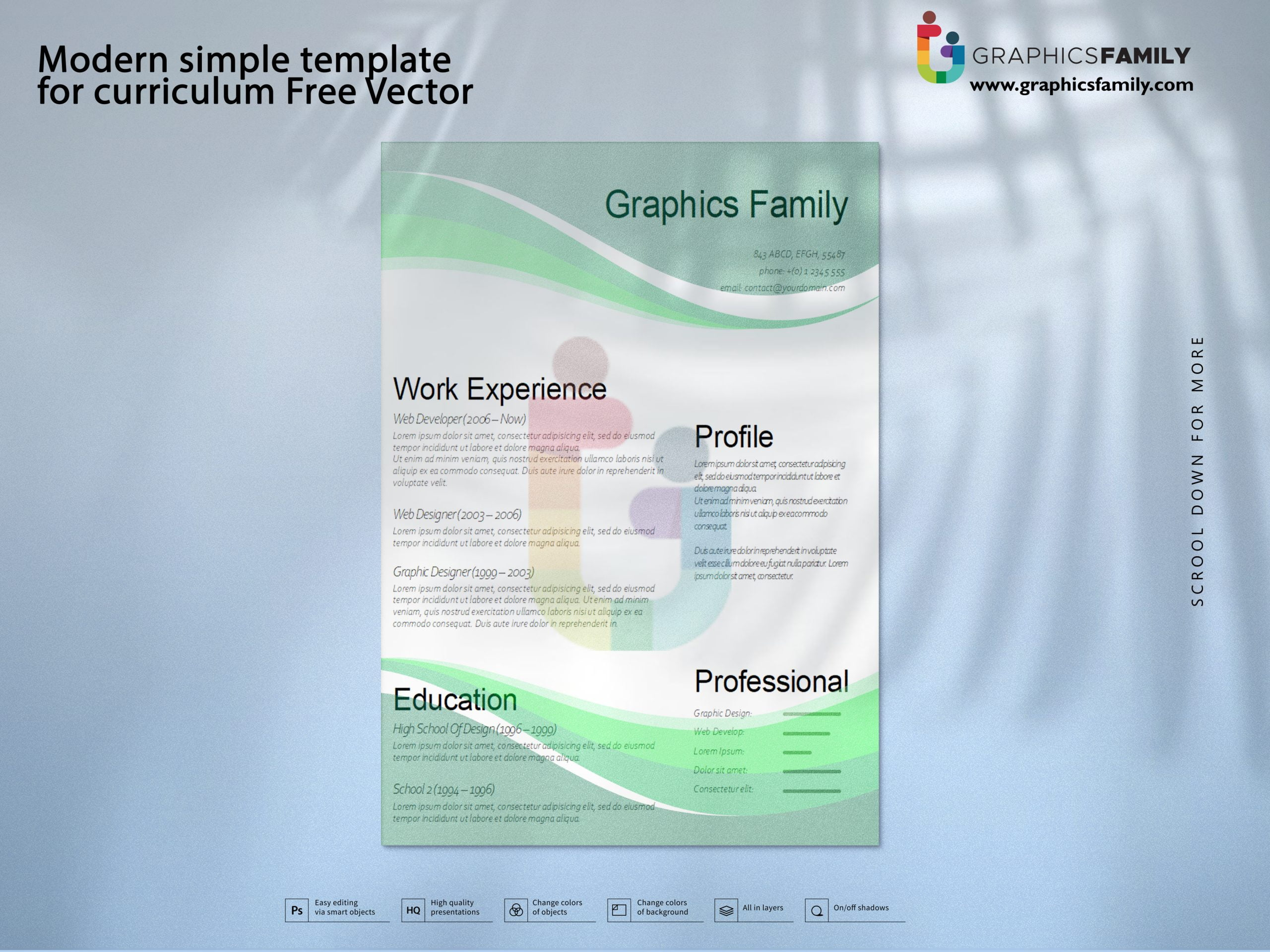 Modern simple template for curriculum Free Vector Free Download