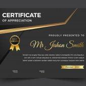 Multipurpose certificate template in dark golden theme design