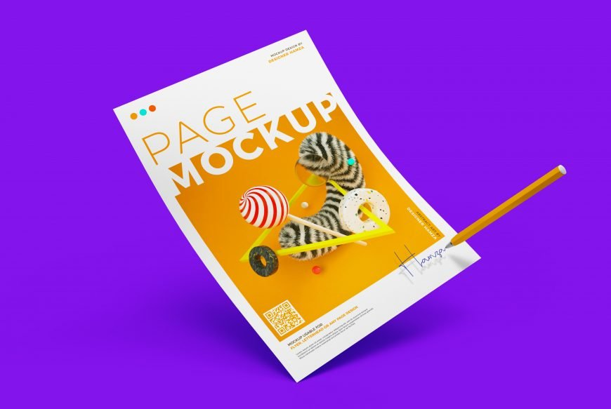 Paper with Pen Letterhead Mockup Premium PSD