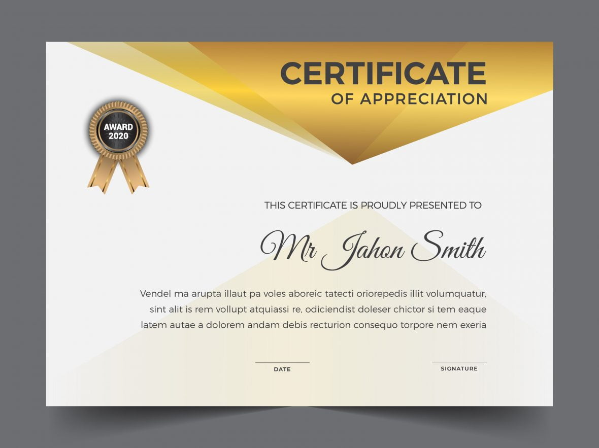 Premium golden white certificate template design