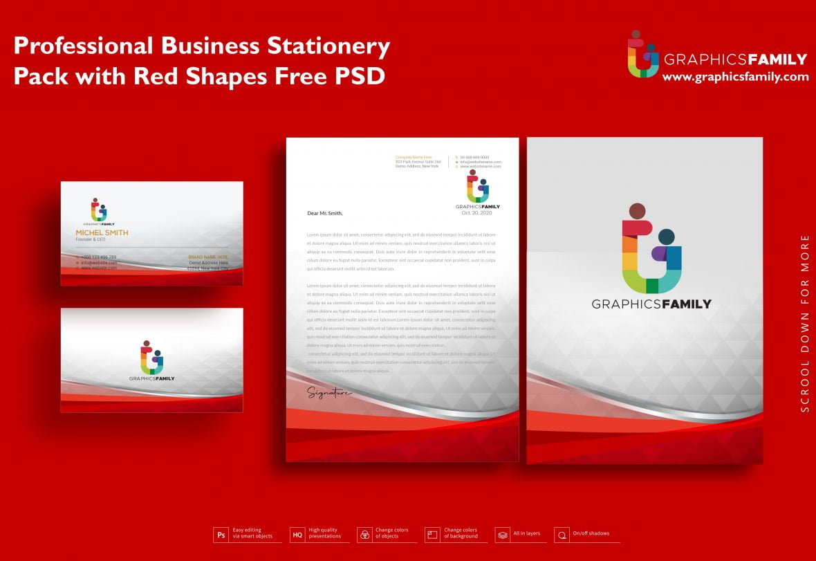 Professional Business Stationery Pack with Red Shapes Free PSD