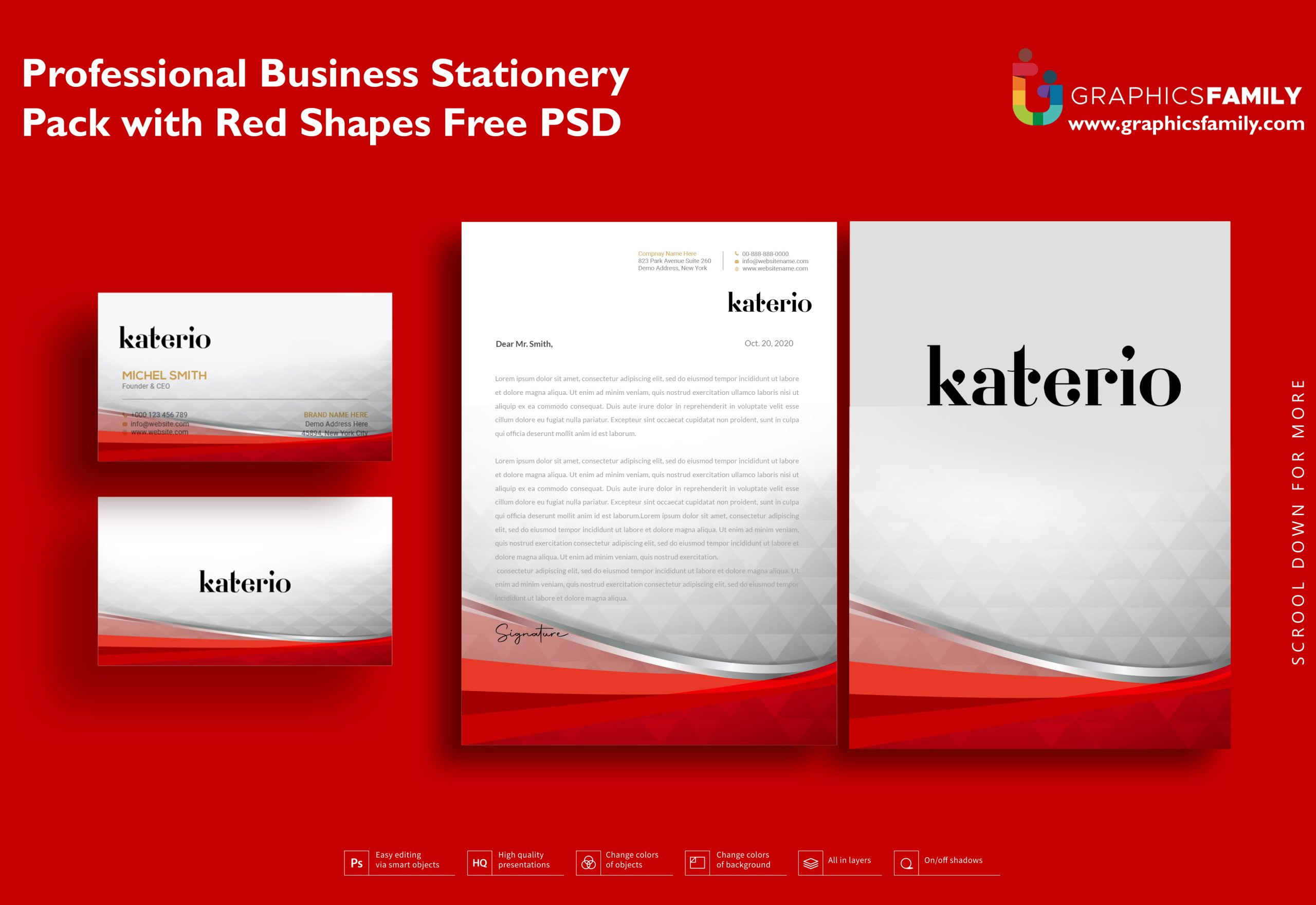 Professional Business Stationery Pack with Red Shapes Free Psd Download