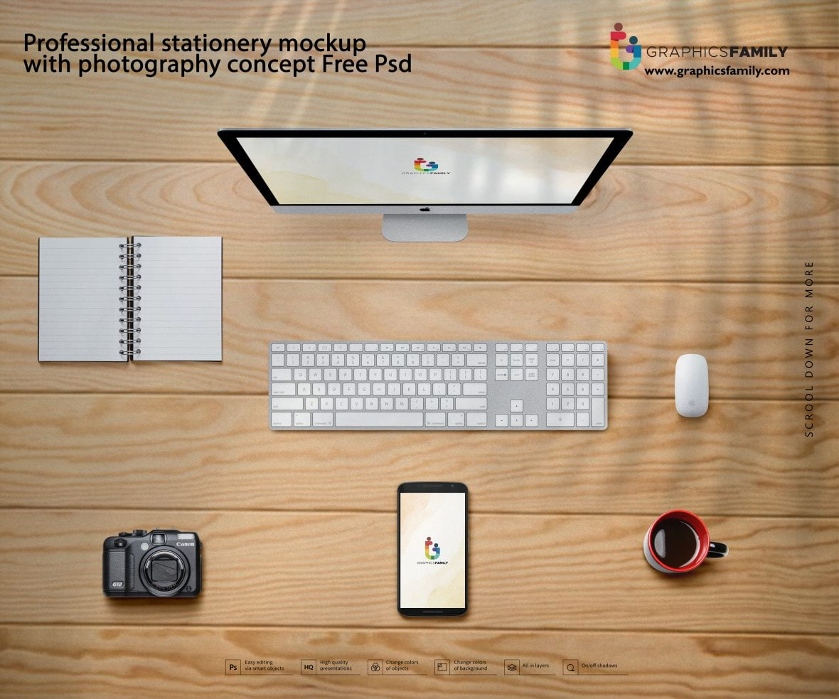 Professional stationery mockup with photography concept psd