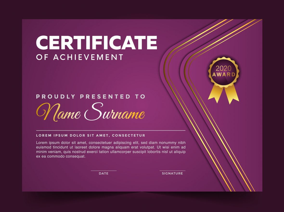 Purple Cool Diploma Template