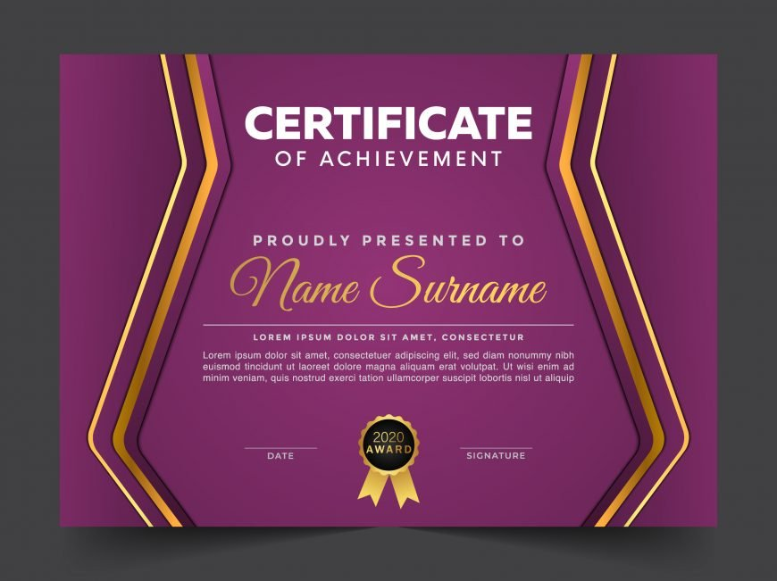 🟪 Purple Modern Certificate Design