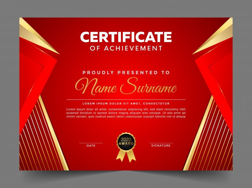 Red and Gold Modern Diploma Template