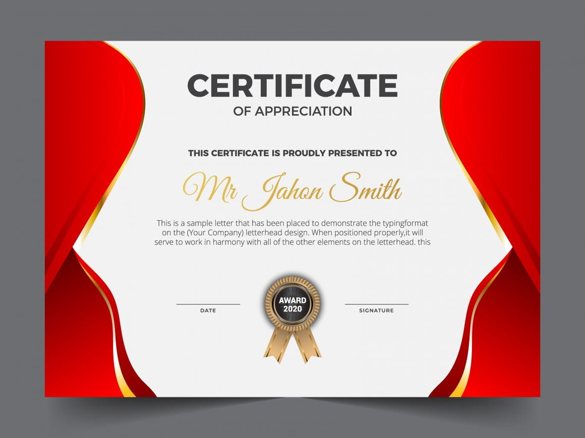 Red and white elegant certificate of achievement template background