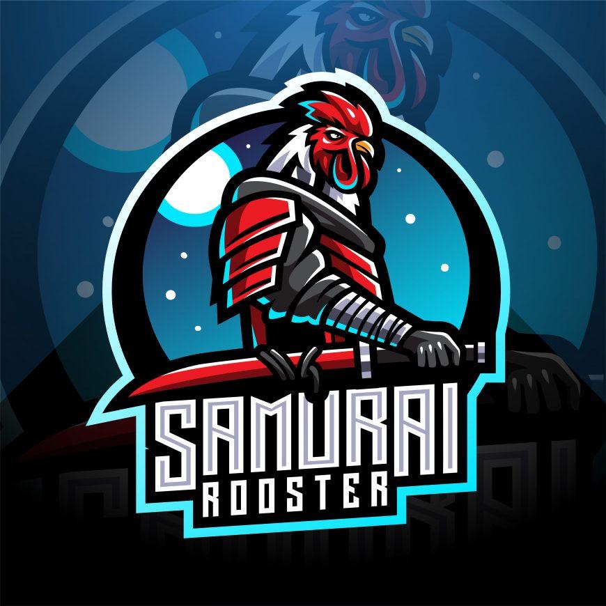 Samurai Rooster Esports Mascot Logo Template