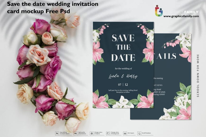 Save the date wedding invitation card mockup Free PSD