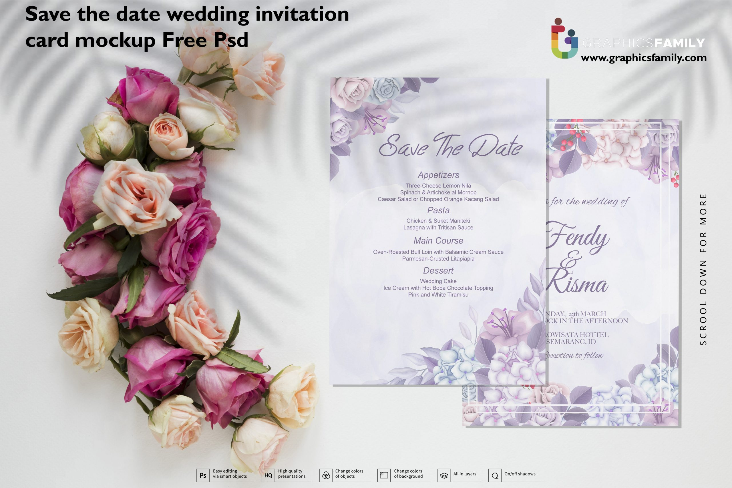 Save the date wedding invitation card mockup Free PSD Download