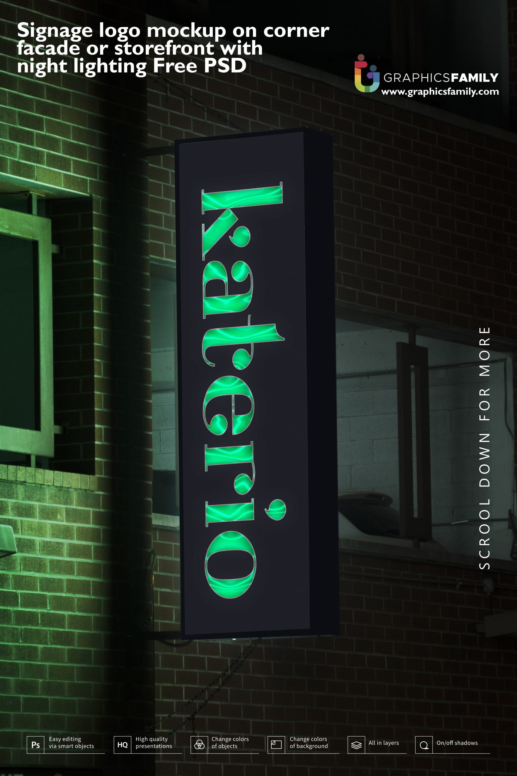 Signage logo mockup on corner facade or storefront with night lighting Free PSD