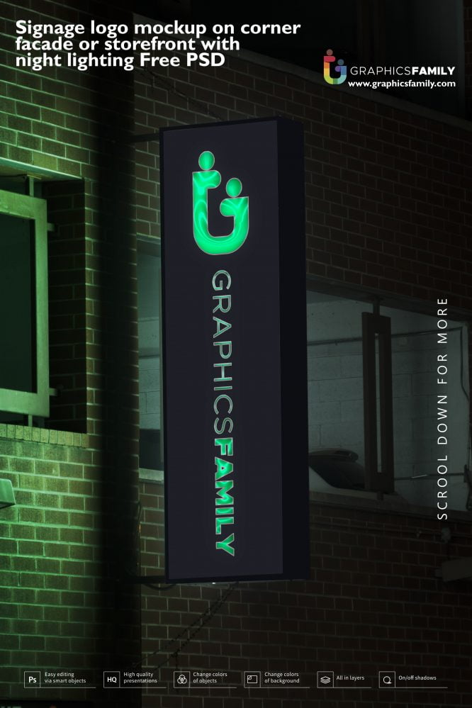 Signage logo mockup on corner facade or storefront with night lighting by GraphicsFamily