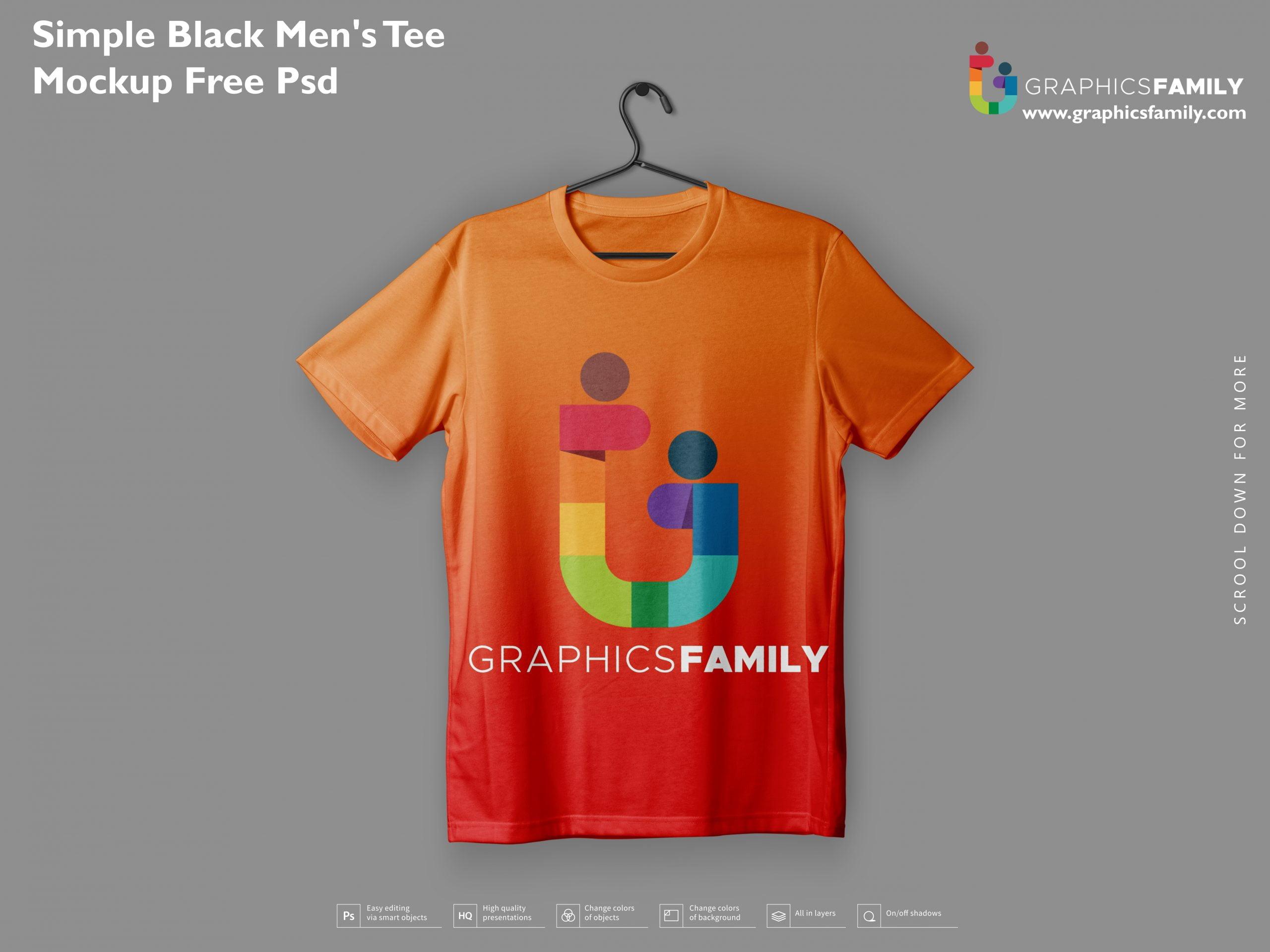 Simple Black Men Tee Mockup Free PSD