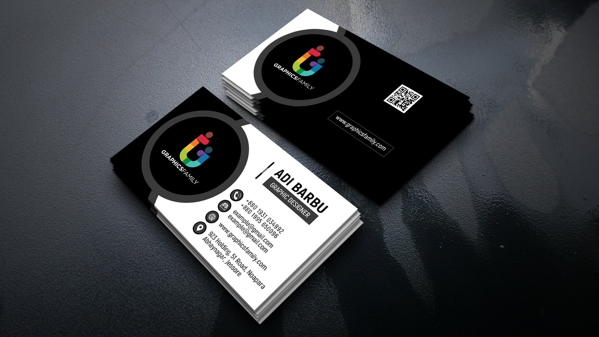Simple Black and White Business Card Design