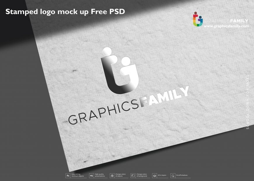 Stamped logo mock up Free PSD