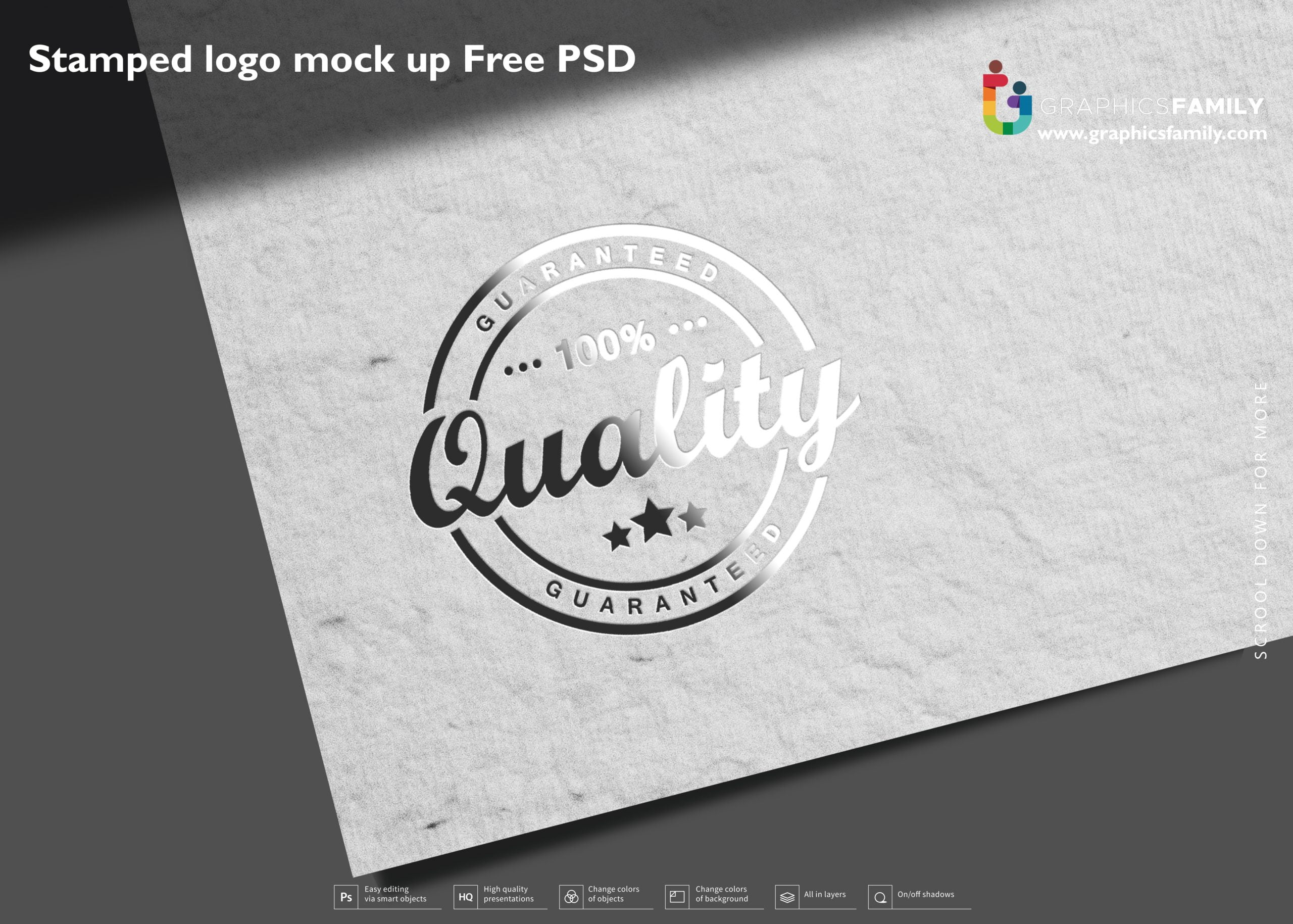 Stamped logo mock up Free PSD Download