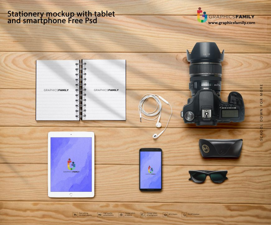Stationery mockup with tablet and smartphone Free Psd
