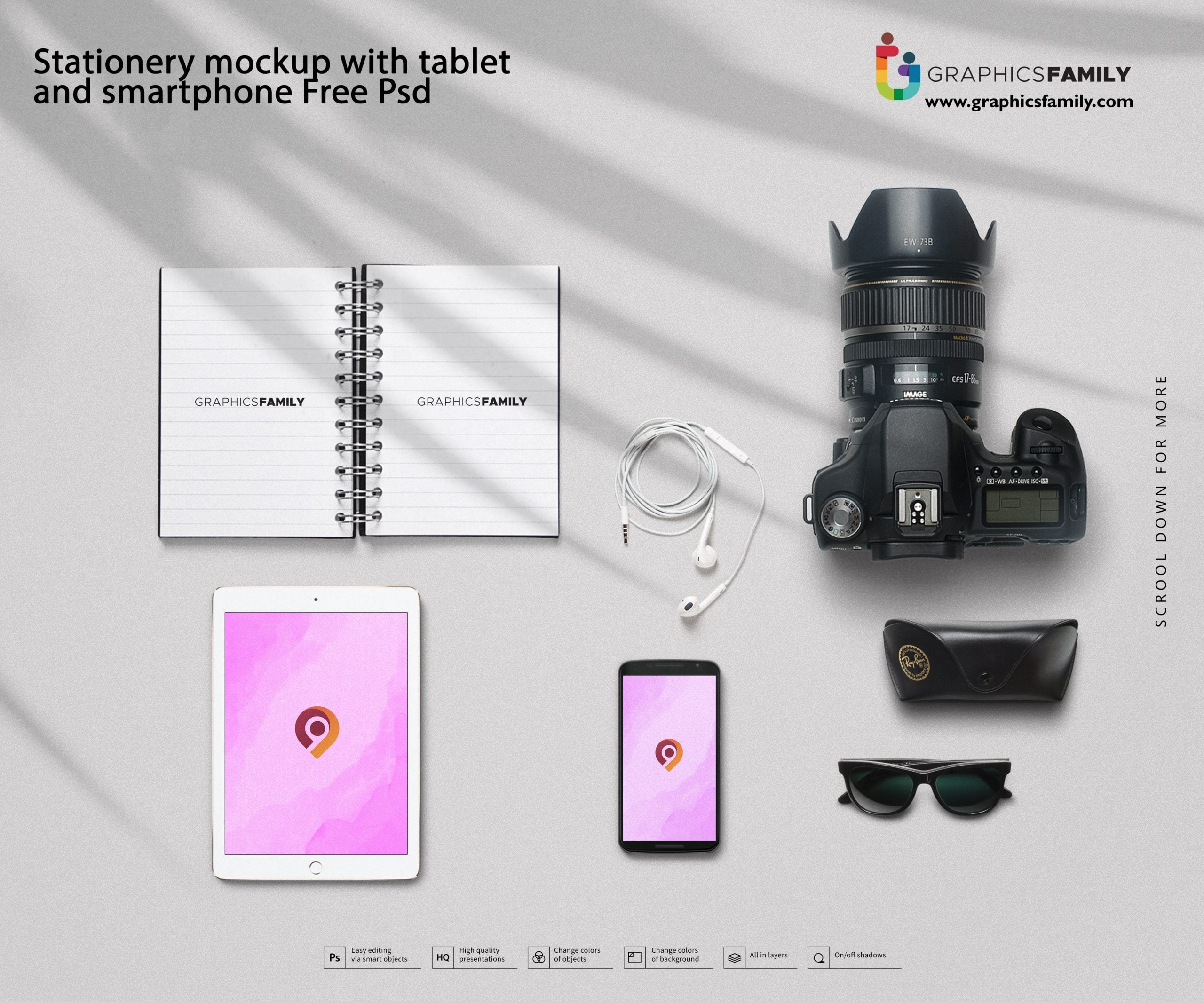 Stationery mockup with tablet and smartphone Free Psd Download