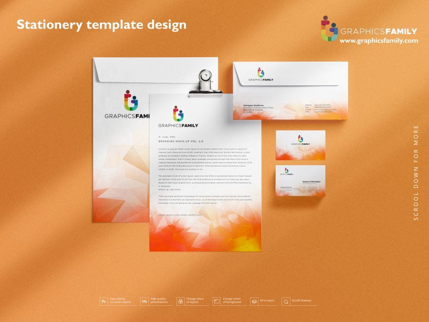 Stationery template design by GraphicsFamily