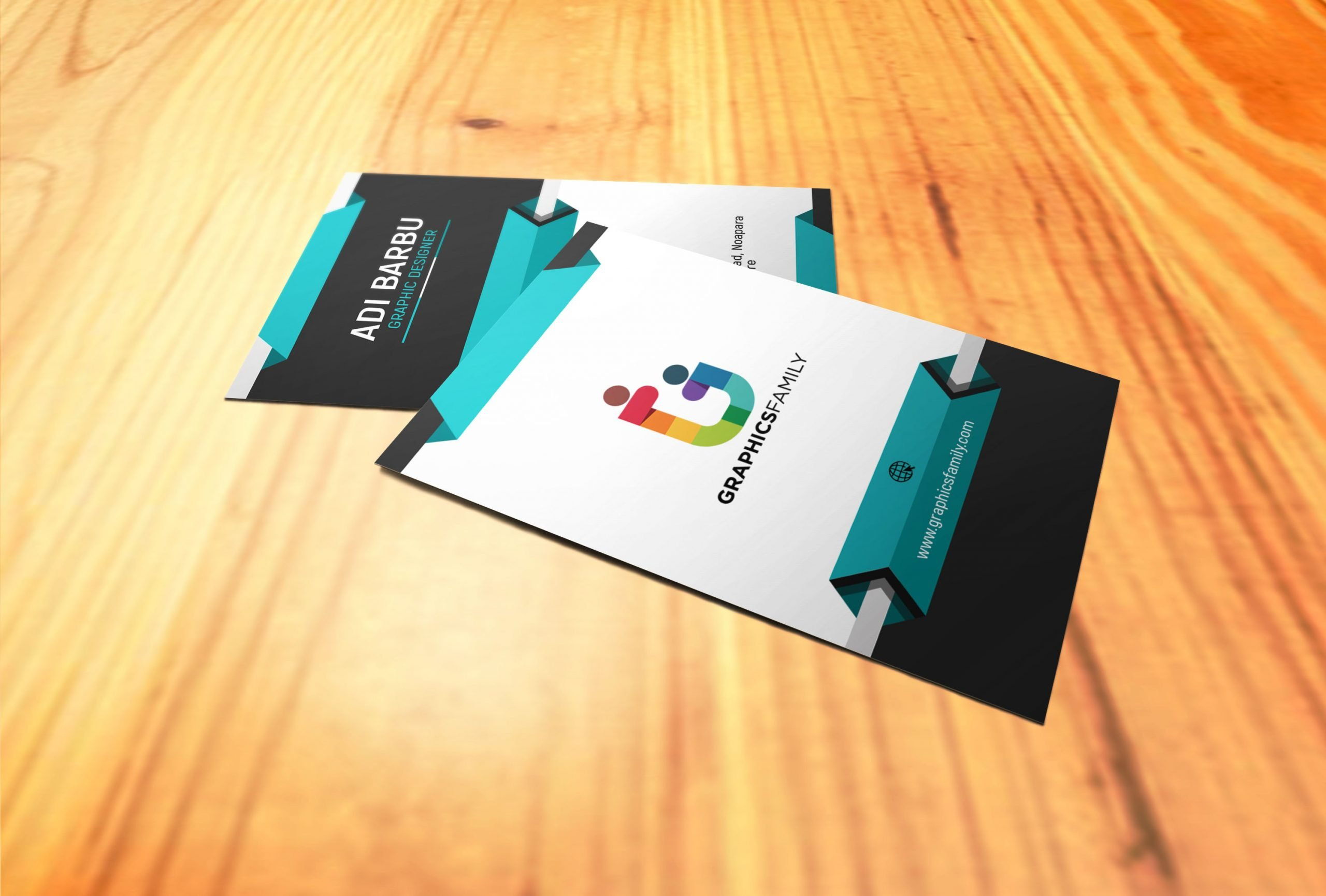 Vertical 3D Business Card Design Download