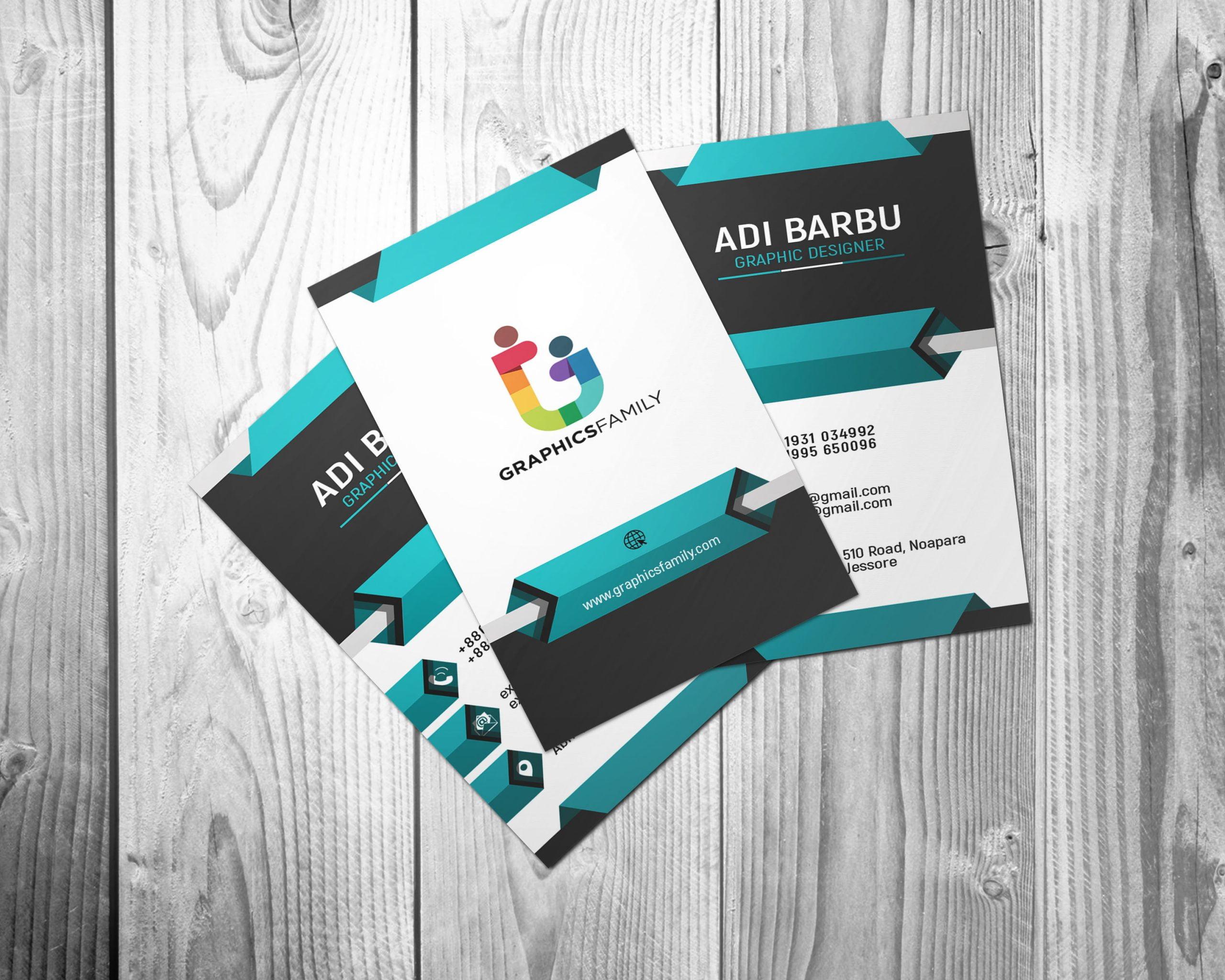 Vertical 3D Business Card Design PSD