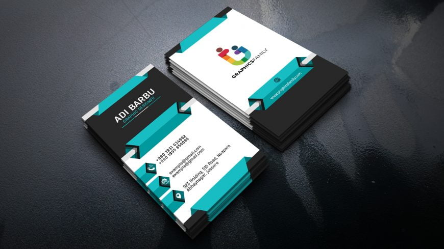 Vertical 3D Business Card Design by GraphicsFamily