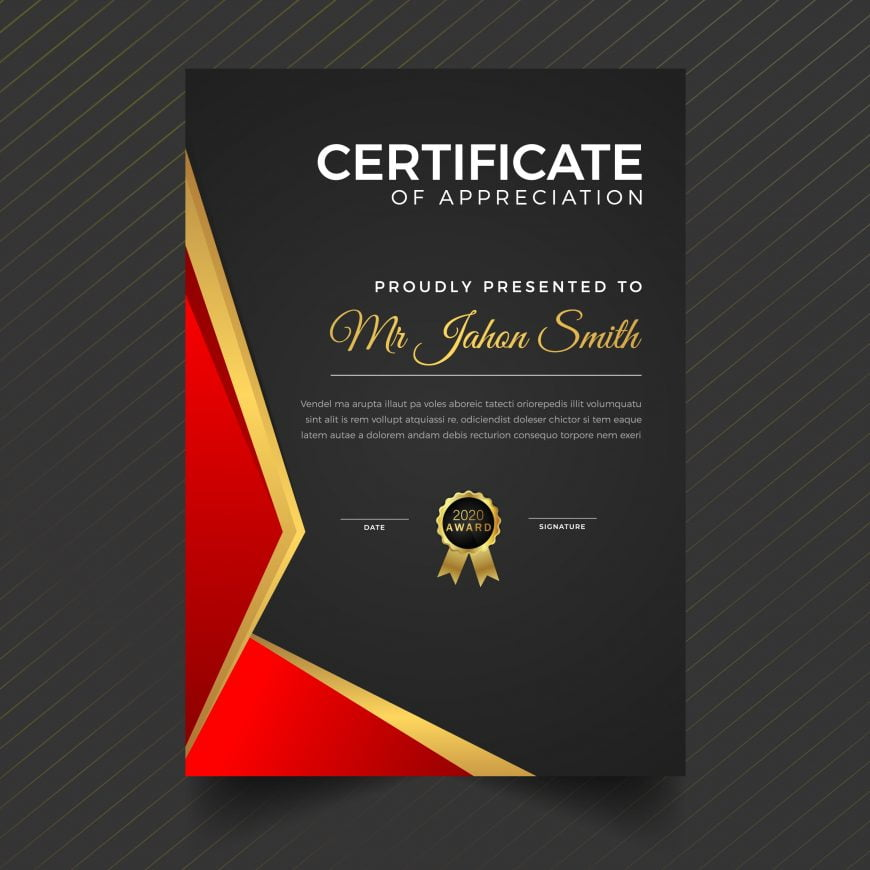 Vertical Dark Luxury Certificate Template Design