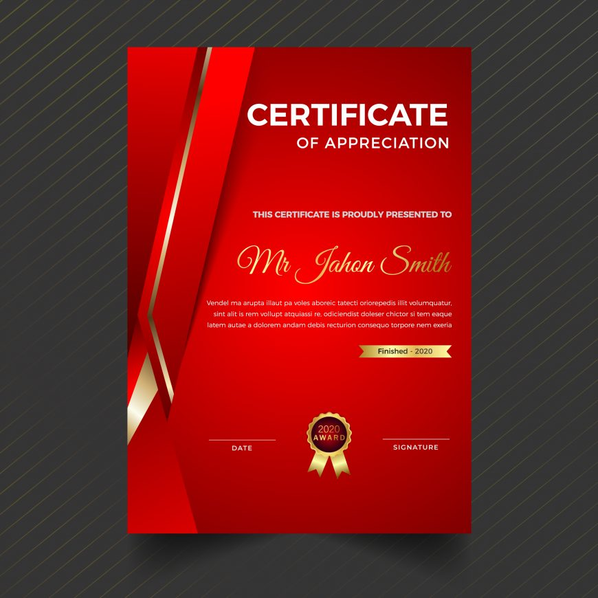 Vertical Red Certificate