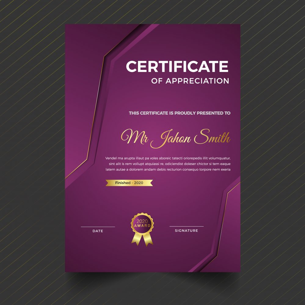 Vertical modern certificate template with futuristic and dynamic texture modern backgr