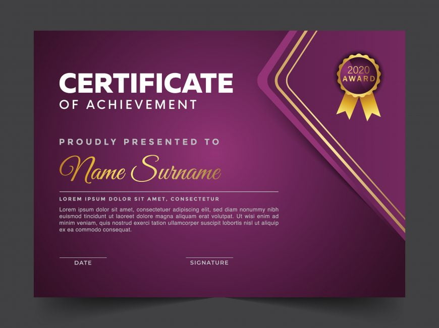 Violet Editable Certificate Template