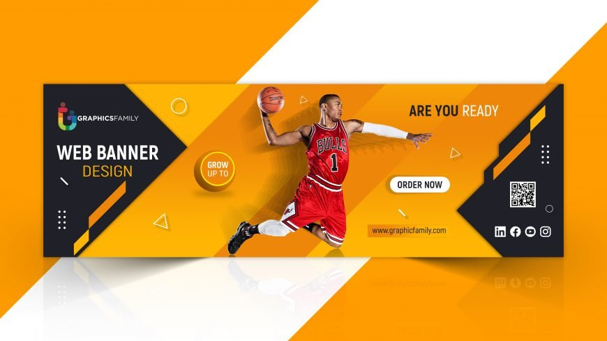 Web banner template with sports concept