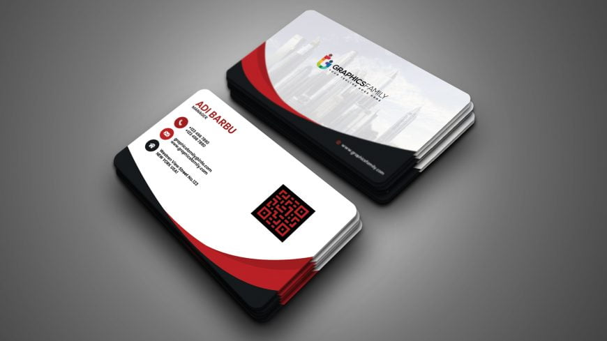 White business card with red and black details