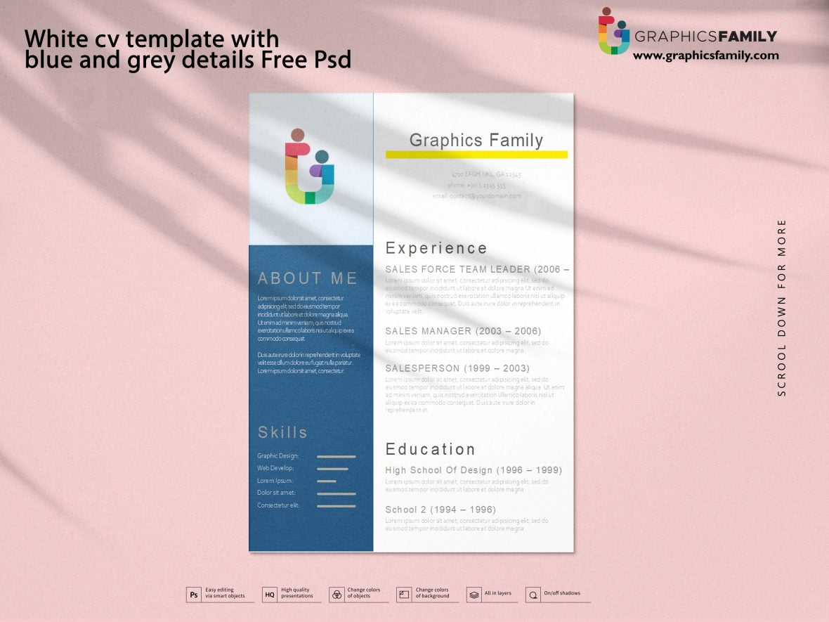 White cv template with blue and grey details Free Psd