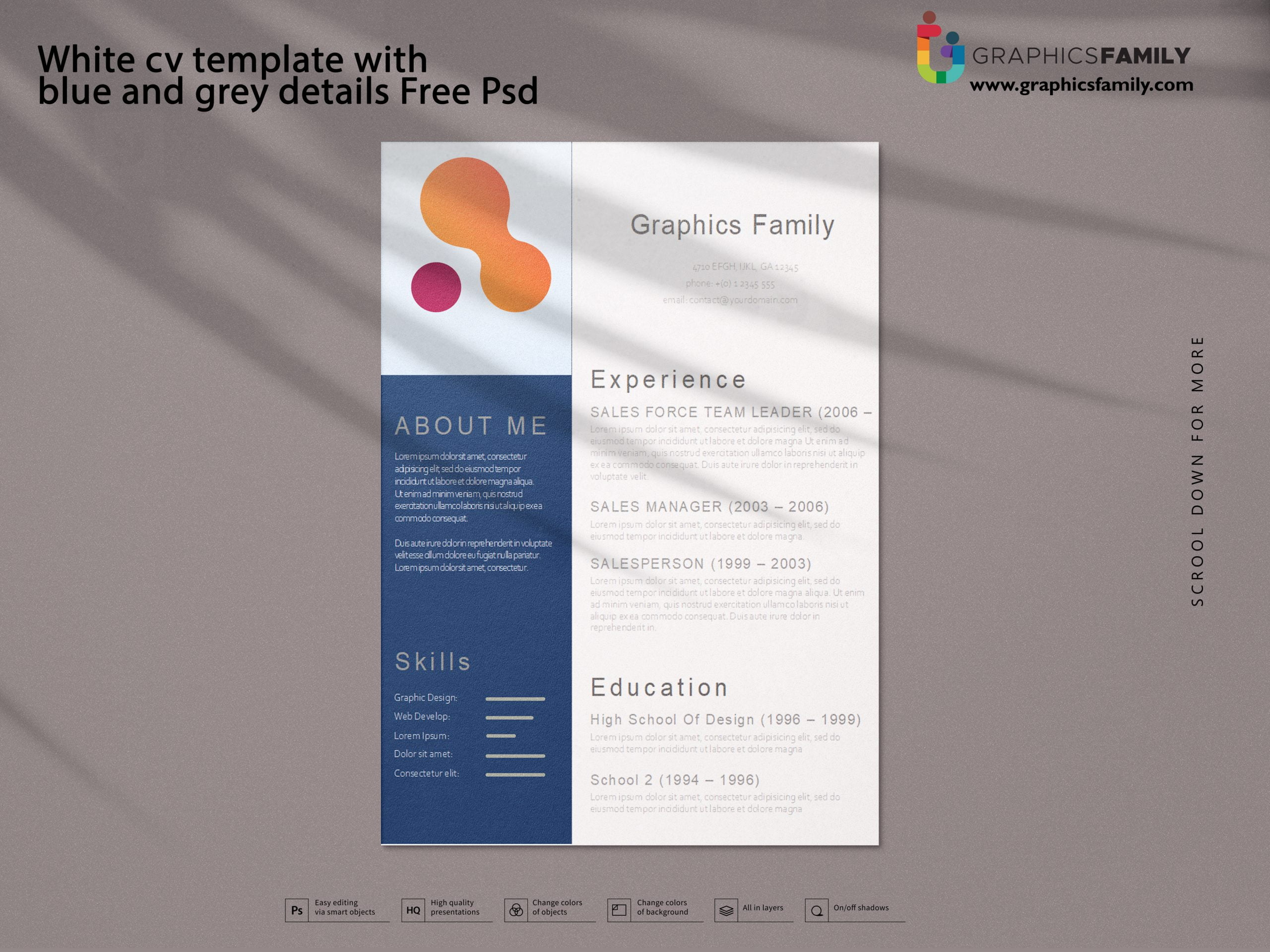 White cv template with blue and grey details Free Psd Download