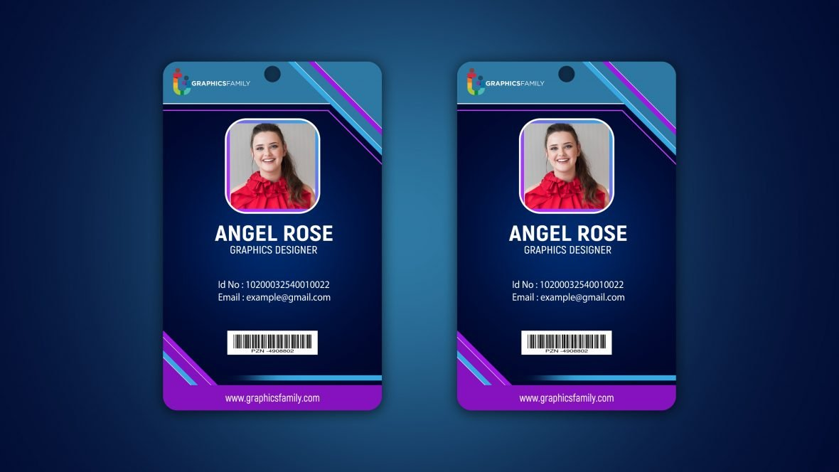 Business id card template with photo