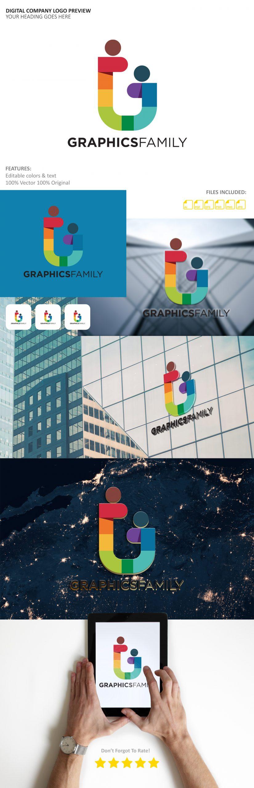 Digital Company Logo Preview Mockup