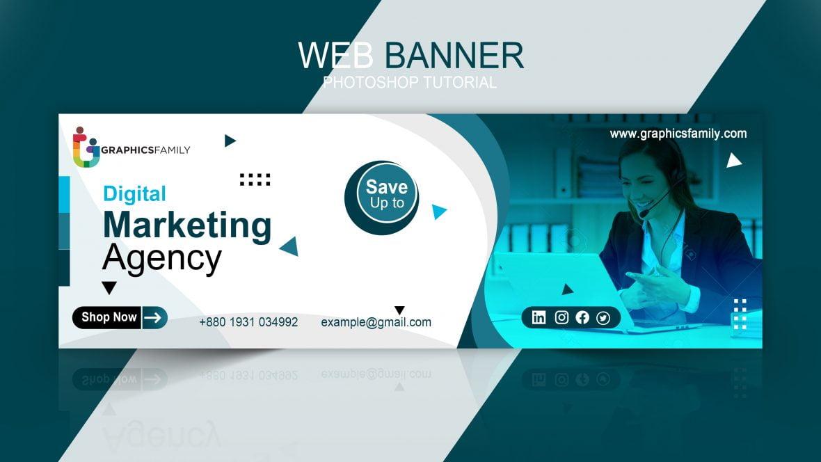 Digital marketing agency banner template design