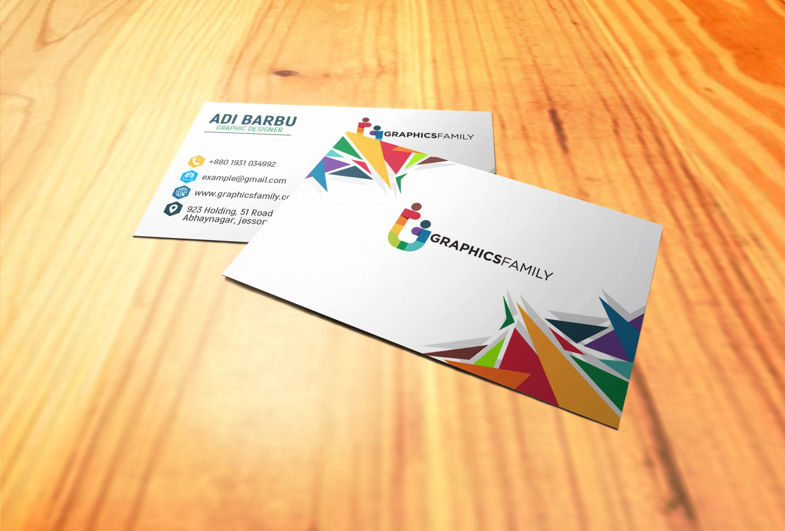 colorful simple business card design  graphicsfamily