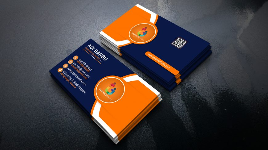 Free Creative Navy Blue and Orange Company Business Card Design