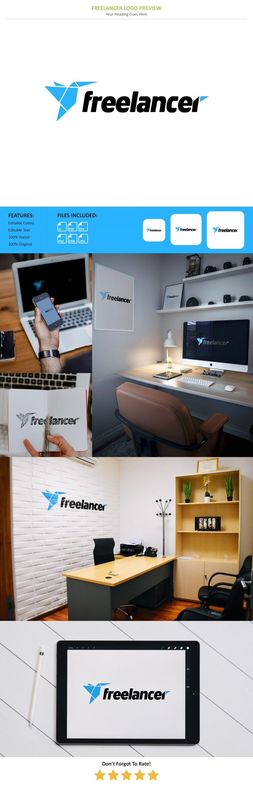 Free Freelancer Logo Preview Mockup