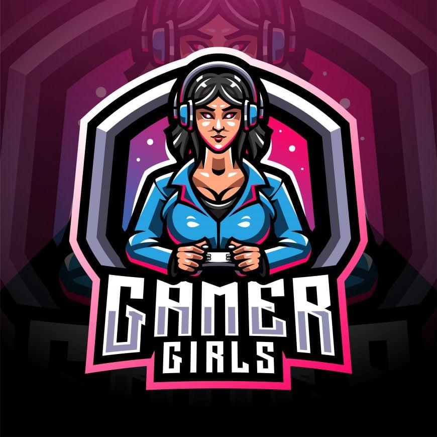 Free Girls Esports Mascot Logo Template