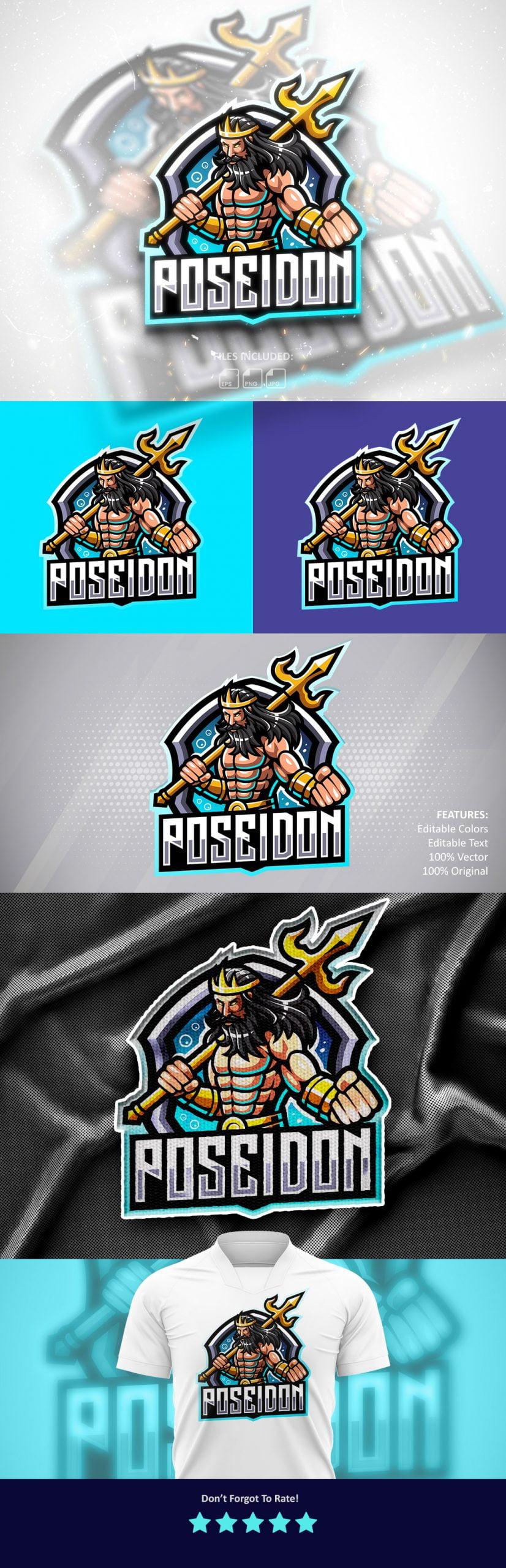 Free-Poseidon-Esports-Mascot-Logo-Download