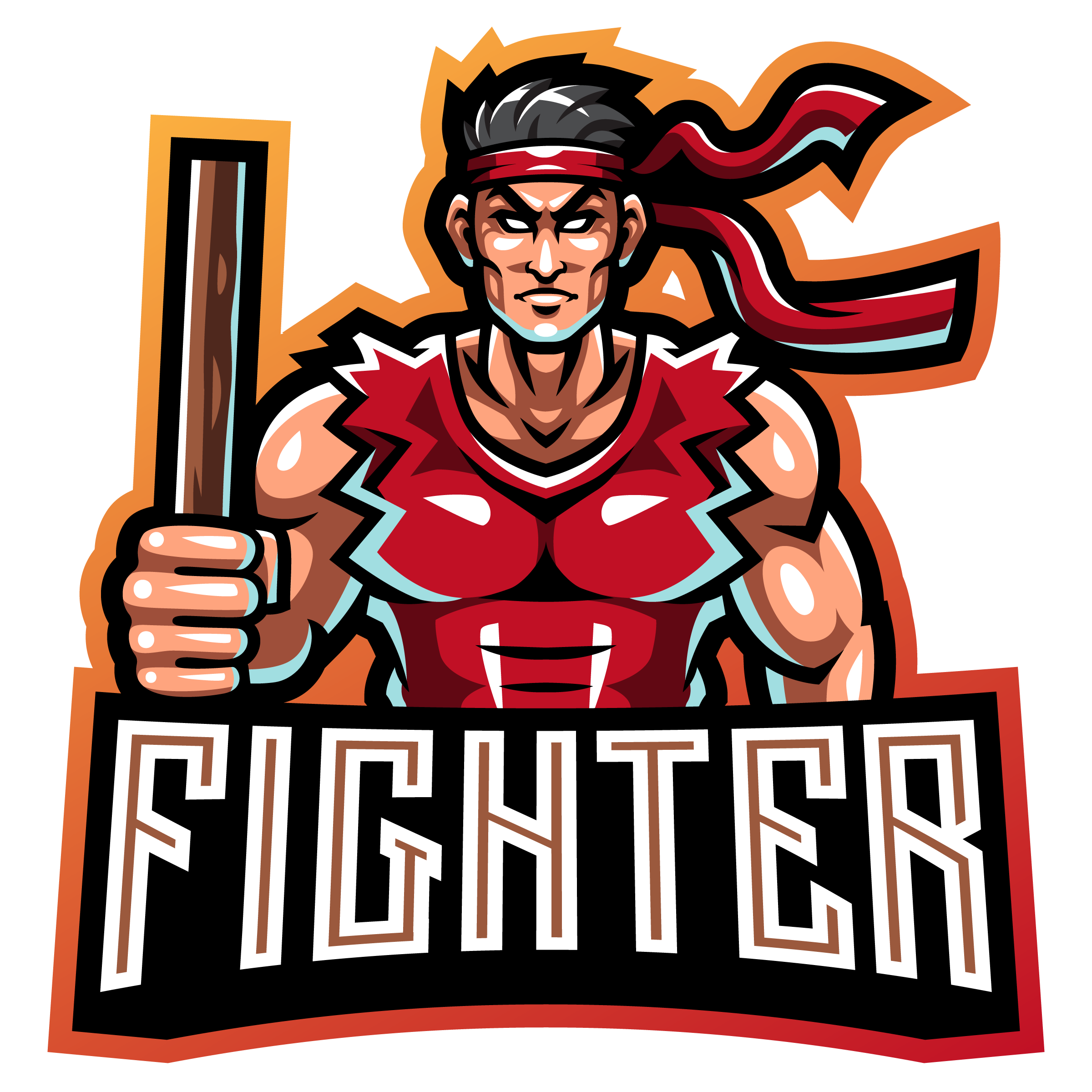 Free-Street-Fighter-Mascot-Logo-Template-PNG-Transparent